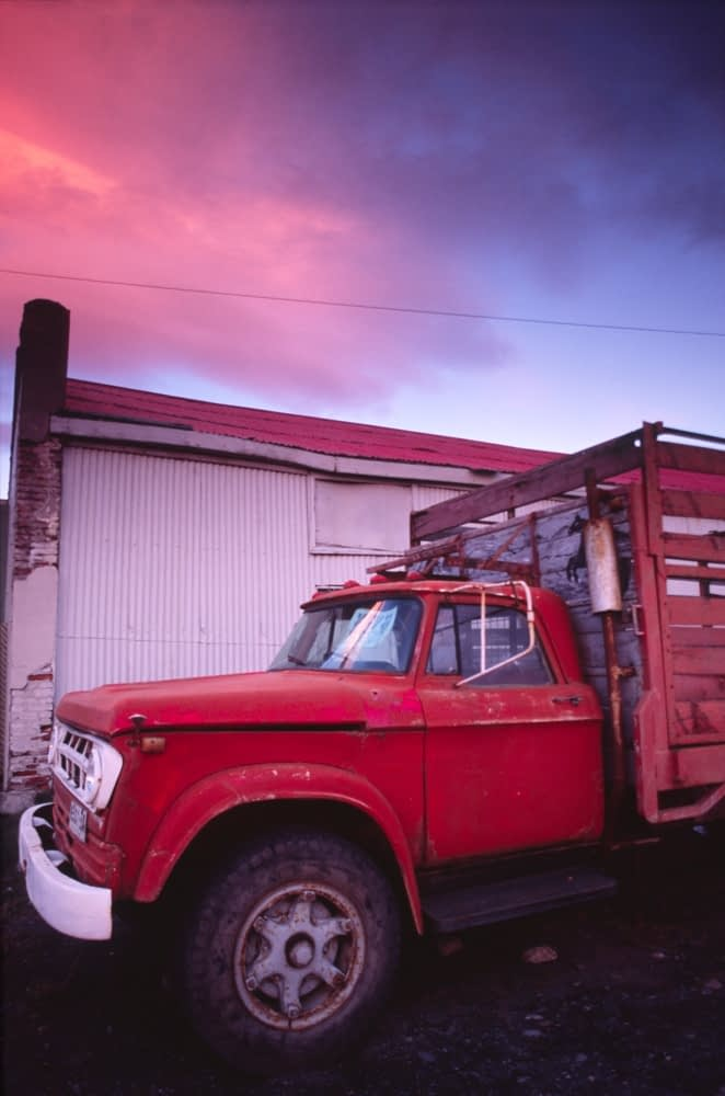 Truck at sunset, Peurto Natales, Patagonia, Chile.