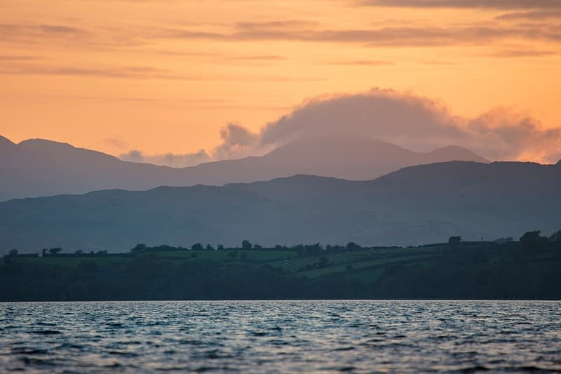 Sunset over Lough Corrib, County Galway, Ireland.