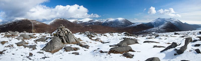 Winter panorama of the Mourne Mountains from Slieve Loughshannagh, Co Down, Northern Ireland.