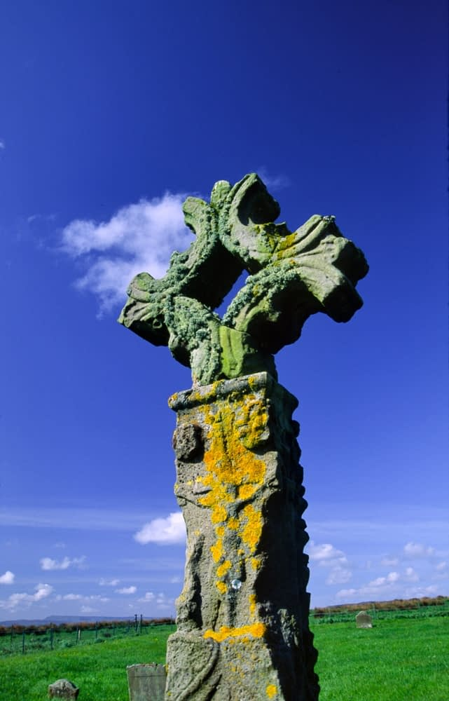 15th century High Cross, Devenish Island, Lower Lough Erne, Co Fermanagh, Northern Ireland.