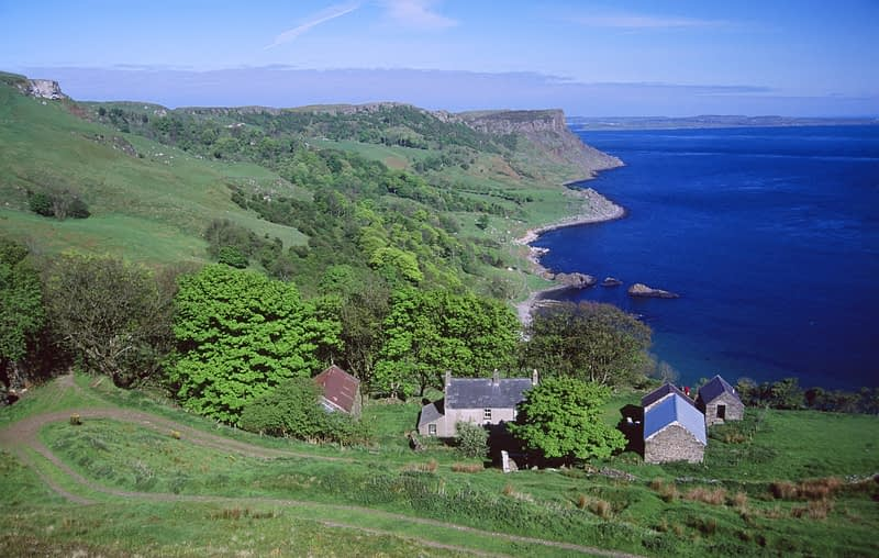 Benvane farm and Murlough Bay, Co Antrim, Northern Ireland.