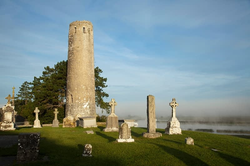 O'Rourke's Round Tower, Clonmacnoise, Co Offaly, Ireland.