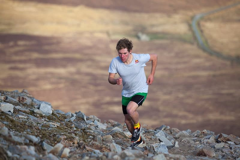 Triathlete Con Doherty running on Croagh Patrick, County Mayo, Ireland.