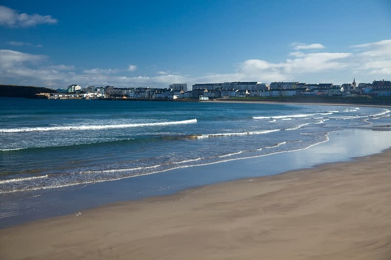 View across West Strand to Portrush, Co Antrim, Northern Ireland.