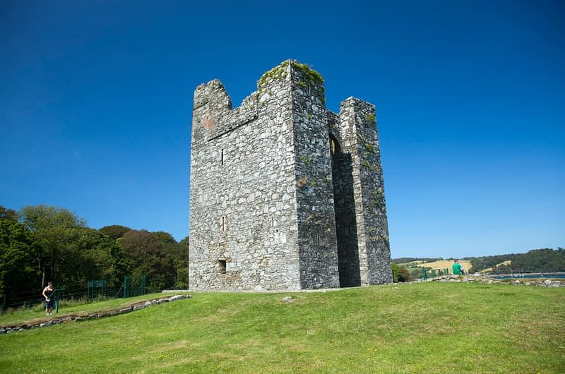 The 15th century tower house of Audley's Castle, Castleward, Co Down, Northern Ireland.