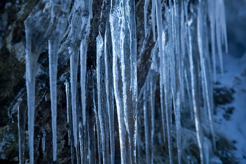 Winter icicles, Mourne Mountains, Co Down, Northern Ireland.
