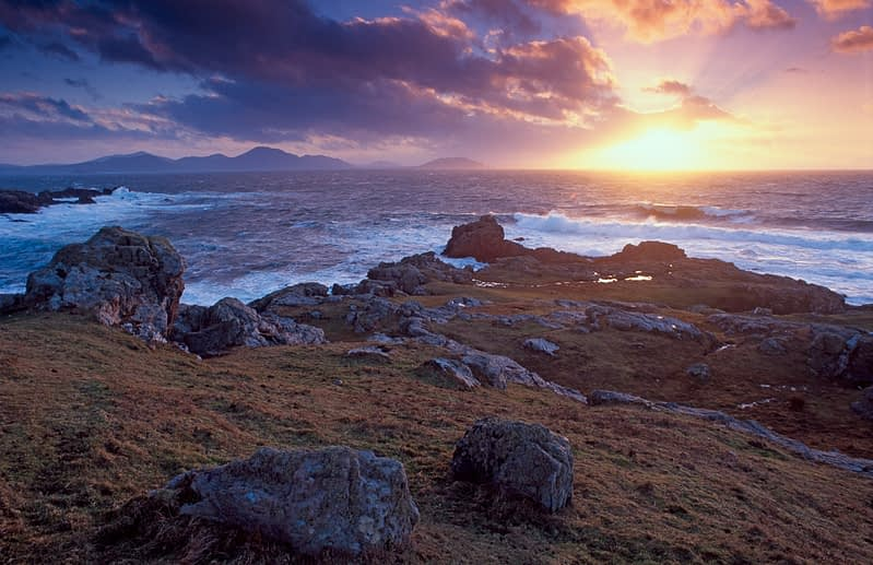 Sunset over Breasty Bay, Inishowen, Co Donegal, Ireland.