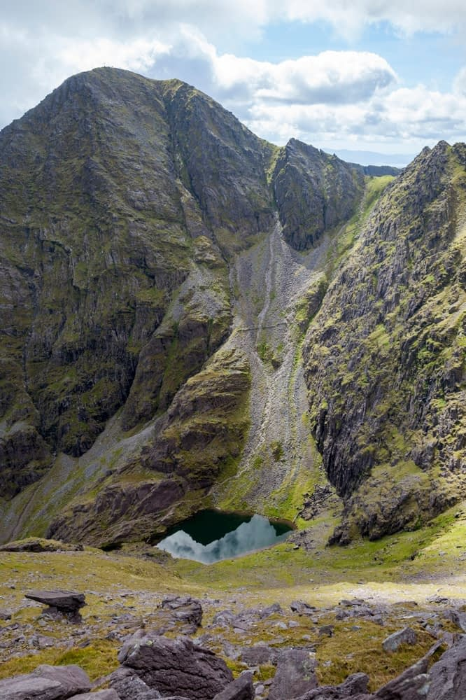 Lough Cummeenoughter beneath Carrauntoohil, MacGillycuddy's Reeks, County Kerry, Ireland.