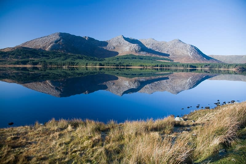 Reflection of the Twelve Bens in Lough Inagh, Co Galway, Ireland.