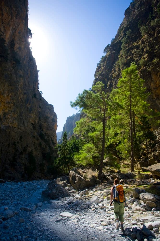 Hiker in the Samaria Gorge, Samaria National Park, Crete, Greece.