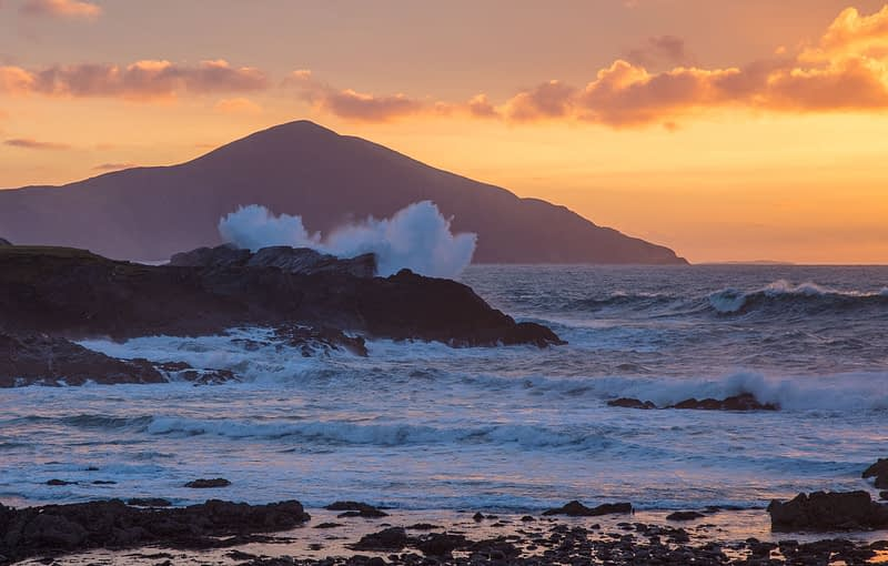 Winter sunset from the Atlantic Drive, Achill Island, County Mayo, Ireland.