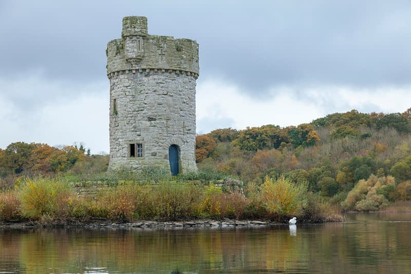 Crichton Tower on Gad Island, Crom Estate, Upper Lough Erne, County Fermanagh, Northern Ireland.