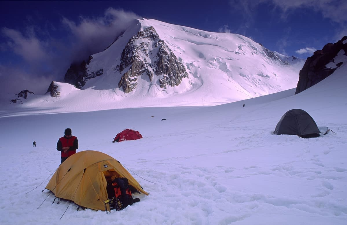 Camping in the Vallee Blanche, Mont Blanc Massif, French Alps, France.