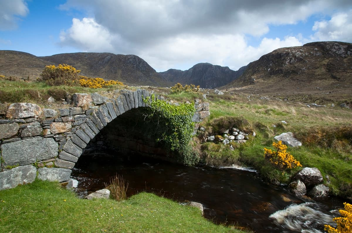 Old bridge leading into the Poisoned Glen, Dunlewy, Co Donegal, Ireland.