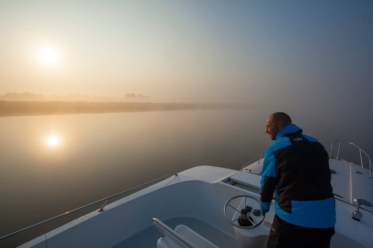 Early morning cruising on Lough Ree, River Shannon, County Westmeath, Ireland.