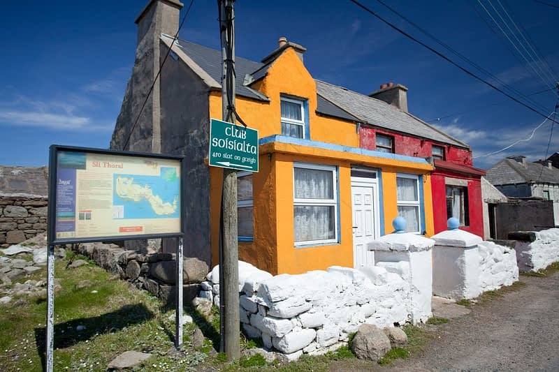 Colourful cottages on Tory Island, Co Donegal, Ireland.