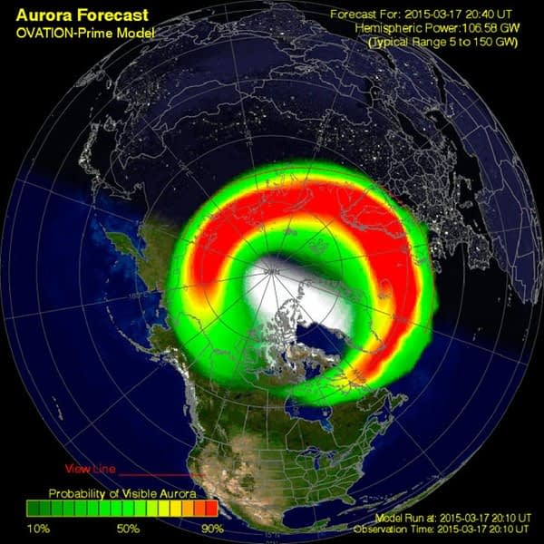 Forecasting model for photographing the aurora borealis from Ireland