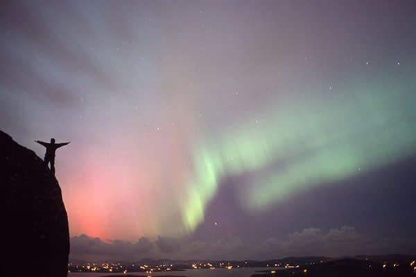 Photograph of the northern lights or aurora borealis from Donegal, Ireland.